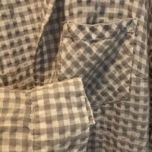 Grey and White Gingham Button Down, Size XXL
